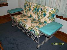 Retro Aluminum Patio Furniture vintage 1950's aluminum porch glider turqoise floral cushions