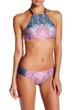 b7b7f1a16 Lucky Brand | Midnight Paisley Lattice Reversible High Neck Bikini Top