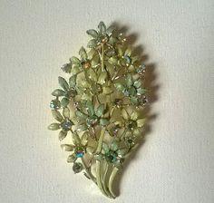Enamel & Crystal Flower Spray Brooch in Pale Green by GleamingKist, £10.00