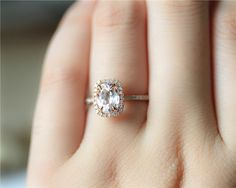 6x8mm Oval Morganite Ring Solid 14K Rose Gold by JulianStudio