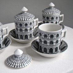Piero Fornasetti Milano Covered Coffee Cups Black White Mid Century Modern 1960s