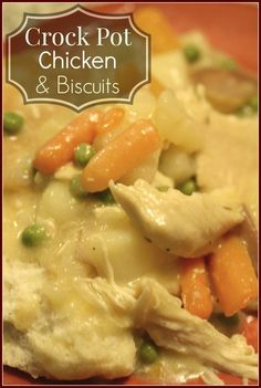 very good, comfort food meal. This super easy Crock Pot Chicken & Biscuits is sure to please your dinner crowd. Great for those cold winter nights! Crock Pot Chicken & Biscuits - Detours in Life Crock Pot Food, Crockpot Dishes, Crock Pot Slow Cooker, Slow Cooker Recipes, Crockpot Recipes, Cooking Recipes, Cooking Bacon, Chicken Recipes In Crock Pot, Chicken Pot Pie Soup Recipe Easy
