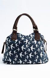 Amici Accessories Bird Print Canvas Shoulder Bag