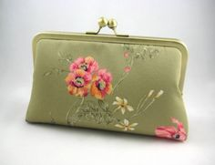 Fucshia and Yellow Flowers  Silk Lined Clutch Bag