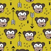 Little monkey friends inky arrows geometric animals design mustard yellow by littlesmilemakers, click to purchase fabric  - surface design by Little Smilemakers on Spoonflower - wallpaper inspiration for kids clothes fun fashion and trendy home decorations.