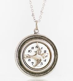 Norwegian Wood Vintage Watch Face Necklace | Cleverly combining a swallow in flight with a vintage watch fa... | Necklaces