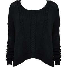 BOXY CABLE SWEATER found on Polyvore featuring tops, sweaters, shirts, jumpers, cableknit sweater, cable knit sweater, black crop top, black crop shirt and crop shirts