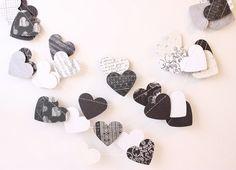 Wedding Garland, Heart Garland, Black & White Garland, Photo Prop, Bridal Shower Decor, Romantic Home Decor, Valentines Day Decor