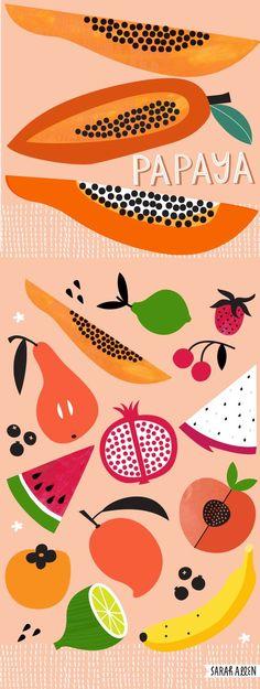 Sarah Allen Illustration Papaya and tropical fruit. Vegetable Illustration, Fruit Illustration, Food Illustrations, Fruit Cartoon, Fruit Logo, Fruits Drawing, Watercolor Food, Fruit Photography, Tropical Fruits