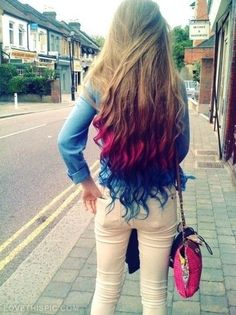 Cute Blonde Magenta and Blue Hair Style!