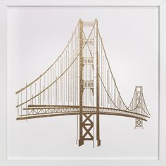 """""""Golden Gate Bridge"""" - Foil-pressed Art Print by Jody Wody in beautiful frame options and a variety of sizes."""