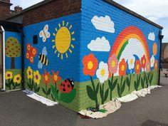 New Whittington Primary School Mural Preschool Playground, Preschool Decor, School Board Decoration, School Decorations, Mural Wall Art, Mural Painting, Garden Mural, School Murals, Art School