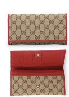 e8a38f658c3 Gucci GG Beige and Red Supreme Canvas Wallet