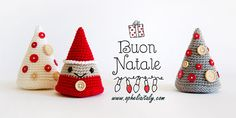Amigurumi sapling - Explanations in Italian. : See also these: Amigurumi reindeer – Instructions in Italian. Crochet reindeer – Explanations in Italian. Amigurumi: How to make a crochet angel – Explanations. Amigurumi sapling – Explanations in Italian. Crochet Christmas Decorations, Crochet Christmas Trees, Holiday Crochet, Christmas Knitting, Diy Christmas Ornaments, Xmas Decorations, Crochet Tree, Christmas Makes, Crochet Projects