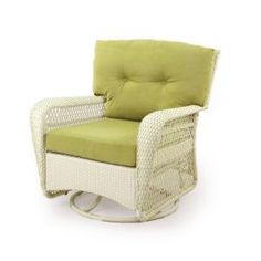 Charlottetown White All Weather Wicker Swivel Patio Chair With Green  Cushions 65 809556