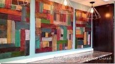 On the Banks of Squaw Creek: Reclaimed Wood Wall Art–Pottery Barn Knock Off