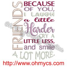 Friends Cry Laugh Smile Embroidery Design – Oh My Crafty Supplies