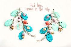 #Tiffanyblue dangle #earrings #Clay #leaves #dropearring