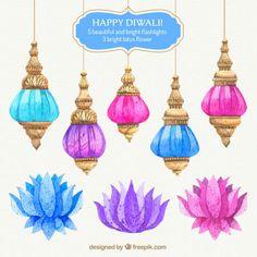 Colorful watercolor diwali lanters Free Vector