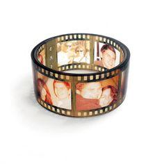 Personalized Keepsake. Sepia Film strip Chunky Photo Bangle Bracelet, Resin