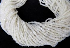 "5 Strand White Moonstone Gemstone Micro Faceted Rondelle Beads 2-4mm 13"" Long  #Faceted"