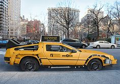 Delorian. Taxi? Time machine? Insert a clever remark about midtown traffic and Doc Brown.