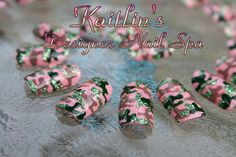 Pink Bling Camouflage Artificial Nail Art by KaitlinsDesignerNail