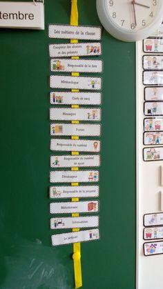 Les métiers de la classe, des pinces à linge au nom de chaque enfant marque son rôle à jouer dans la classe.
