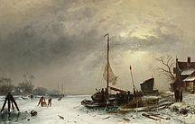 Charles Leickert: Die winterliche Gracht aus unserer Rubrik: Gemälde des 19. Jahrhunderts