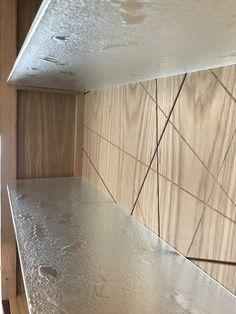 toughened glass, sitting in bespoke frame made by MOS Bespoke Furniture. Glass Furniture, Bespoke Furniture, Fine Furniture, Glass Installation, Cast Glass, Interior Accessories, Shelving, Tile Floor, Glass Art