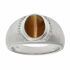 Men's Oval-Cut Brown Cat Eye and Diamond Ring In White Gold Gemologica.com offers a large selection of rings, bracelets, necklaces, pendants and earrings crafted in 10K, 14K and 18K yellow, rose and white gold and sterling silver for that special dad. Our complete collection and sale of personalized and custom gifts for dad: www.gemologica.com/mens-jewelry-c-28.html