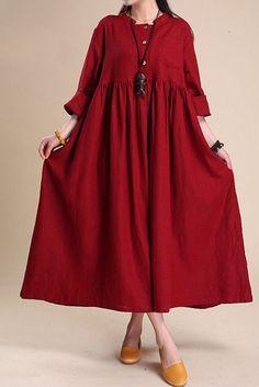 Simple Atmospheric Linen Maxi Dress Women Tunic Clothes