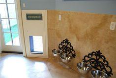 Hanging water/food bowls & doggie door