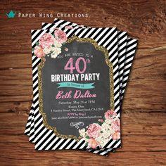 Elegant 40th birthday invitation. Woman chalkboard floral 40th birthday invite. Black white stripes pink and turquoise printable invite AB60 on Etsy, $15.00