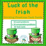St Patrick's Day Dividing Fractions Task Cards