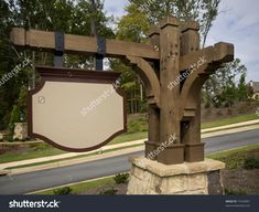 Ornate Timber Blank Subdivision Entrance Sign Stock Photo 19102891 ...