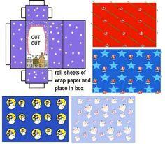 Weihnachtspapier mit Kiste