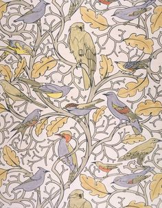 Design for wallpaper, birds perched on stylised olive branche, by C.F.A.Voysey (1857-1941). Ink and watercolour. England, c.1928.