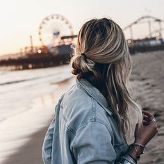 . Denim jacket beach hair ocean sand