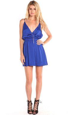PLUNGING BACKLESS SATIN BLUE DRESS