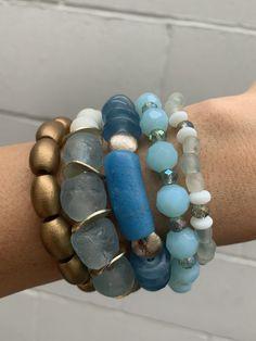 Set of 4 Gemstone Pearl Glass Elastic Stacker Bangle Beads Biwa freshwater Pearl Jade Crystals Saint Charm