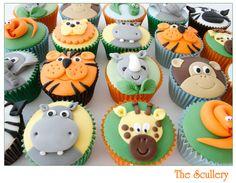 Safari Cupcakes, Zoo Animal Cupcakes, Animal Cakes, Themed Cupcakes, Jungle Theme Birthday, Safari Birthday Party, Baby Birthday Cakes, Animal Birthday Cakes, Birthday Celebration