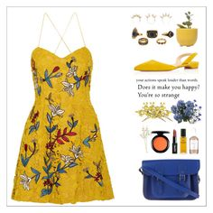 """""""Floral Dress Yellow"""" by perfectgirll ❤ liked on Polyvore featuring Sachin + Babi, Paul Andrew, The Cambridge Satchel Company, Dot & Bo, Joomi Lim, Herbivore, Chanel, MAC Cosmetics, Crate and Barrel and Wyld Home"""