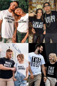 T Shirt Couple, Couple Shirt Design, Cute Couple Shirts, Couple Tees, Matching Couple Shirts, Matching Couples, Cute Shirts, T Shirts For Couples, Cool Shirts For Girls