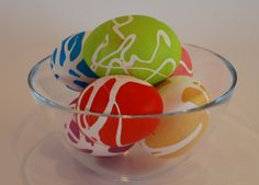 Rubber Cement Dyed Easter Eggs