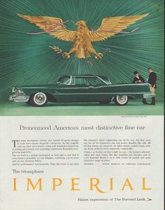 """Description: 1958 CHRYSLER IMPERIAL vintage magazine advertisement """"America's most distinctive"""" -- Pronounced America's most distinctive fine car ... The car itself is a styling masterpiece ... riding clothes by Miller's, New York -- Size: The dimensions of the full-page advertisement are approximately 10.5 inches x 13.5 inches (26.75 cm x 34.25 cm). Condition: This original vintage full-page advertisement is in Excellent Condition unless otherwise noted."""