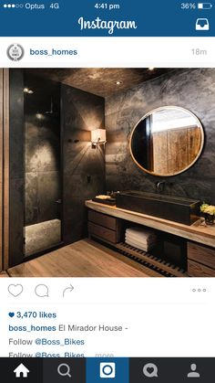 Black is an elegant color and you can use it on home interiors to get a glamourous room design, even in bathroom. See 10 Black Luxury Bathroom Design Ideas. Bathroom Design Luxury, Luxury Interior Design, Modern Bathroom, Black Bathrooms, Modern Interior, Bad Inspiration, Bathroom Inspiration, Bathroom Ideas, Cool House Designs