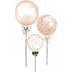 """Lilipinso vous présente son stickers Ballons rose à pois dorés taille XL issu du thème """"Flamingo"""" pour une décoration de chambre d'enfant originale."""