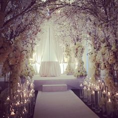 "Indoor Wedding Ceremony Decorations Your wedding will probably prove to be one of the most elaborate ""planned"" events of your life, so naturally you want to make sure that everything go… Wedding Ceremony Ideas, Our Wedding, Wedding Venues, Dream Wedding, Wedding Aisles, Backdrop Wedding, White Cherry Blossom, Cherry Blossom Wedding, Cherry Blossoms"