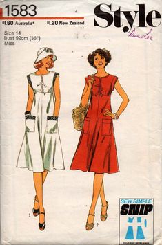 Style 1583 Womens Empire Waist Sundress with Pockets 70s Vintage Sewing Pattern Size 14 Bust 36 inches